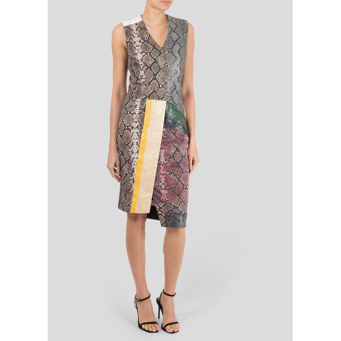Preen Python And Stretch Cotton-blend Dress