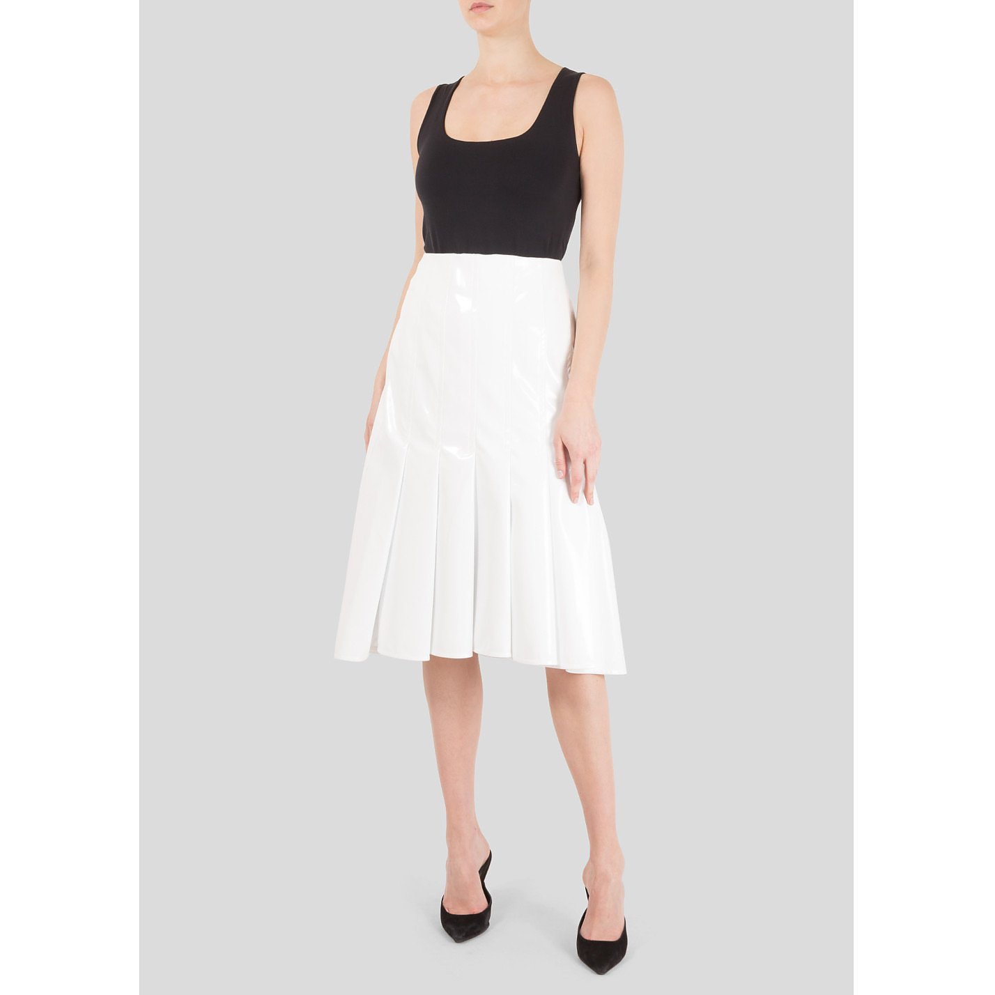 Eudon Choi Patent Pleated Skirt