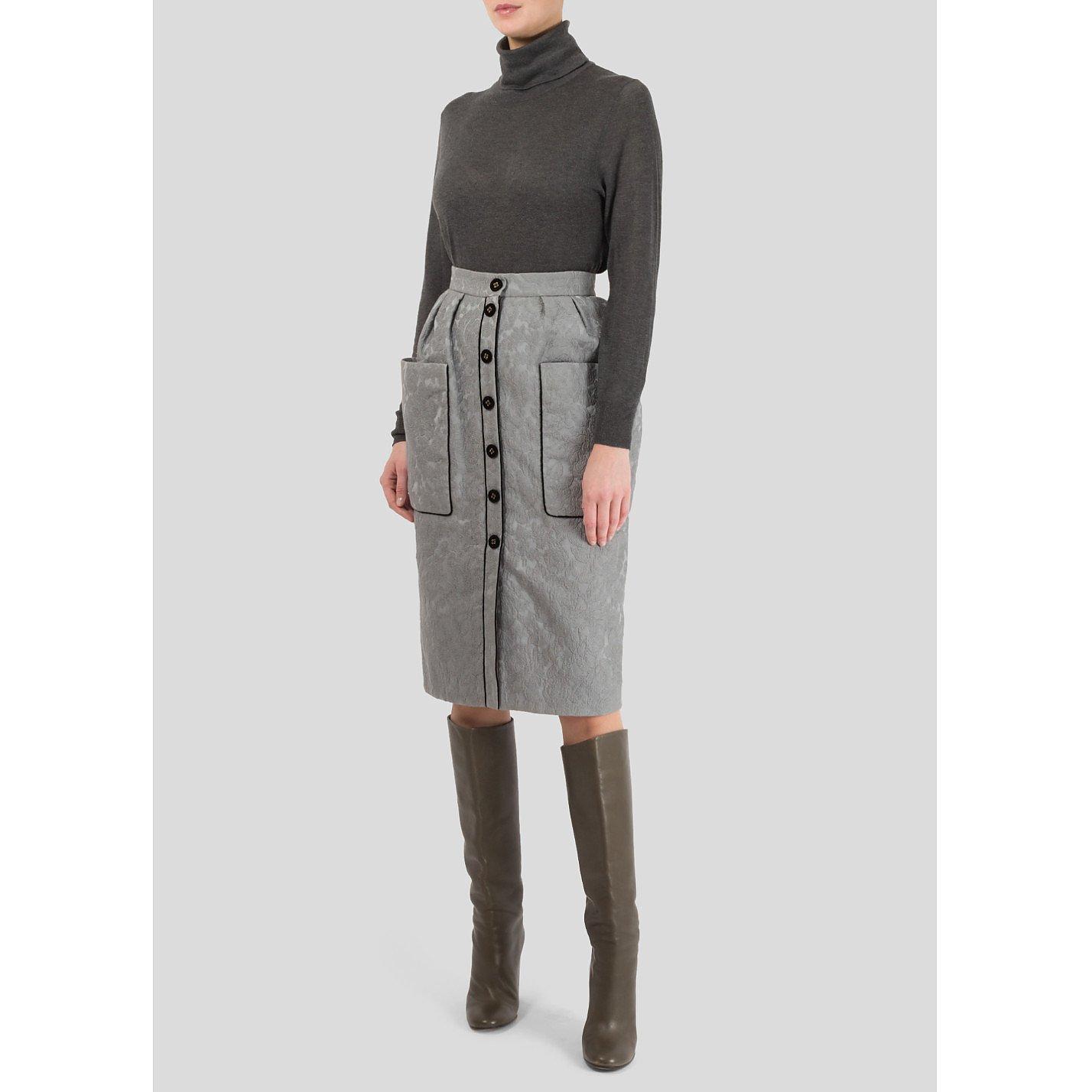 Ulyana Sergeenko Textured Button Detail Skirt