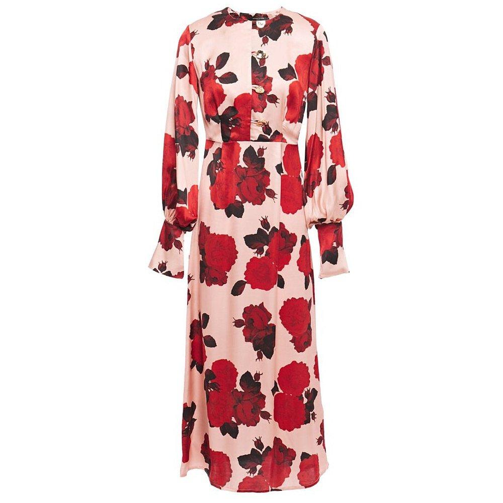 Mother of Pearl Jenna Floral-Print Satin Midi Dress
