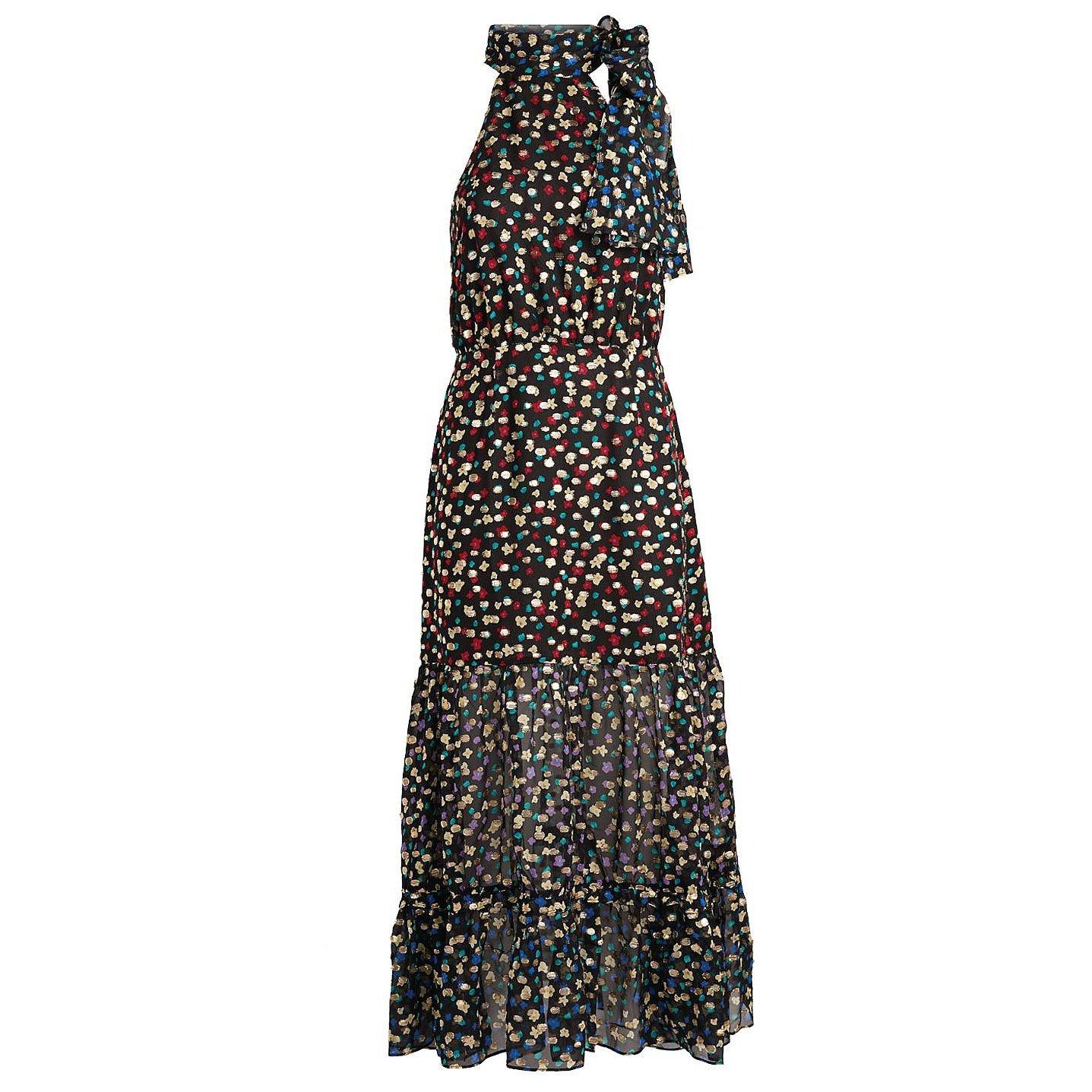 Rixo Eleanor Floral Tie-Neck Dress