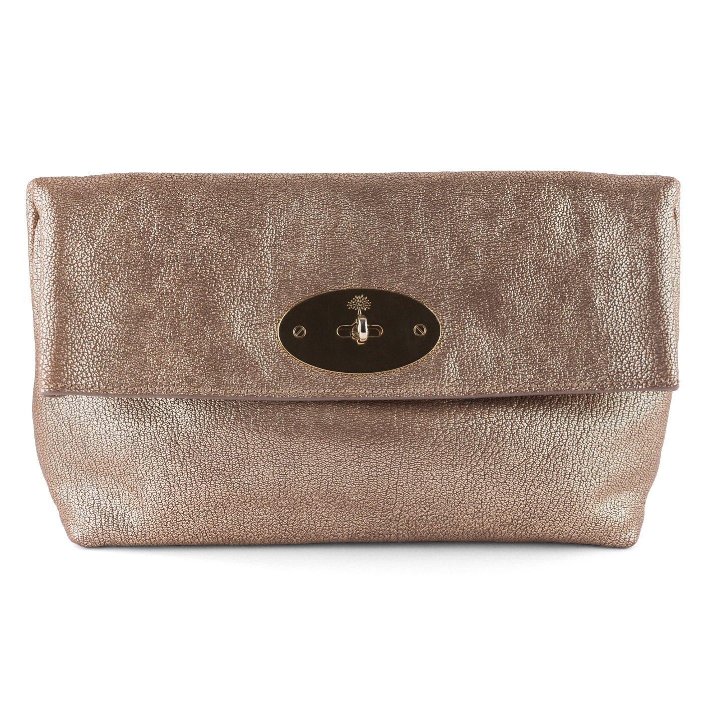 Mulberry Metallic Textured Clutch Bag