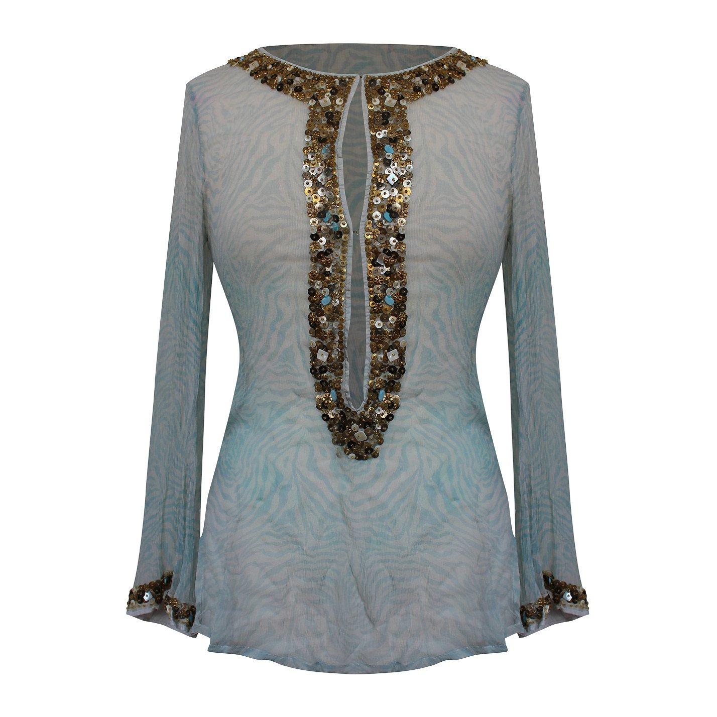Lotus Embellished Silk Kaftan Top