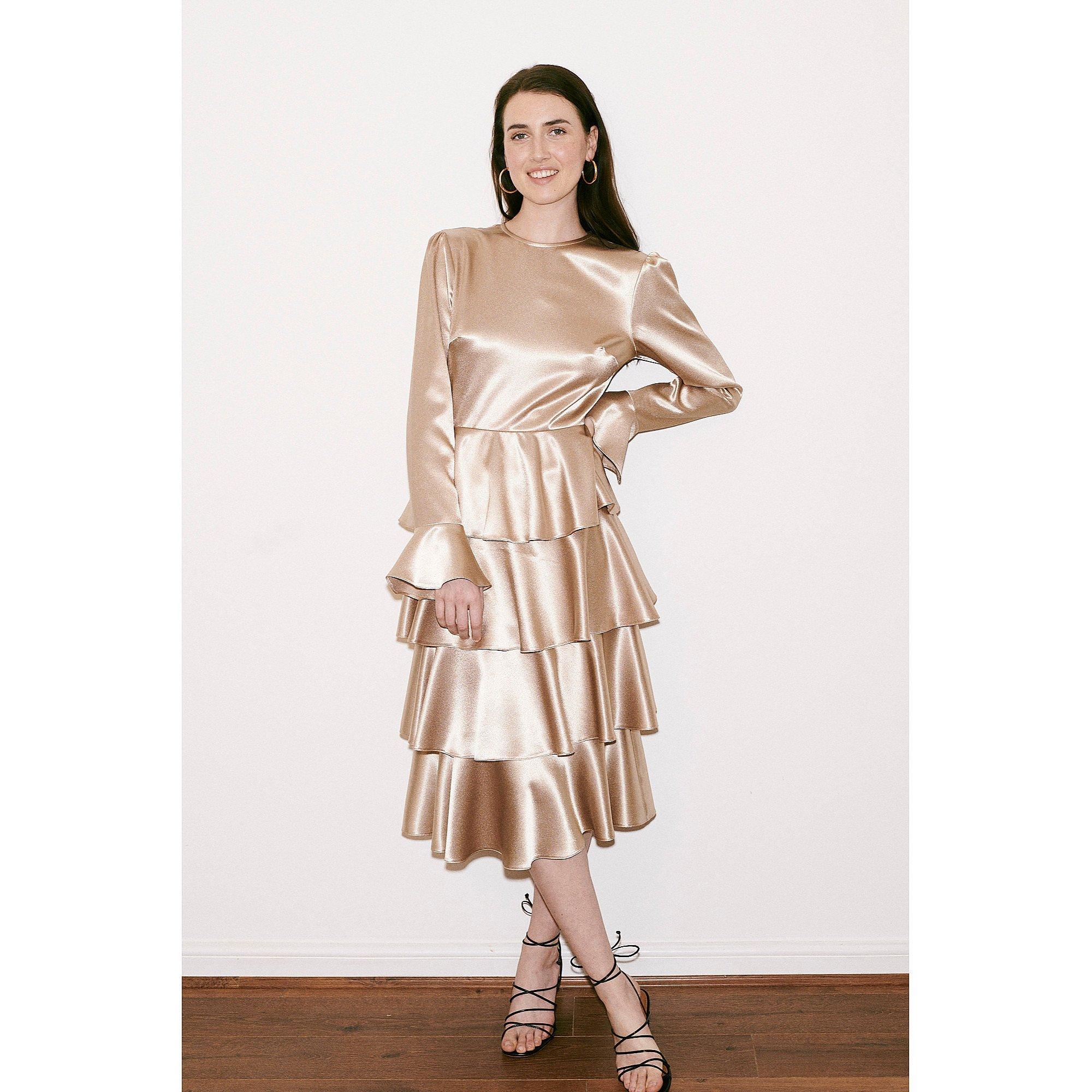 Franks London Claire Satin Ruffle Midi Dress