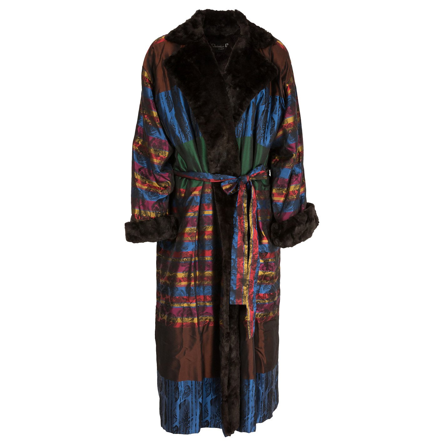 Dior Faux Fur-Trimmed Metallic Coat