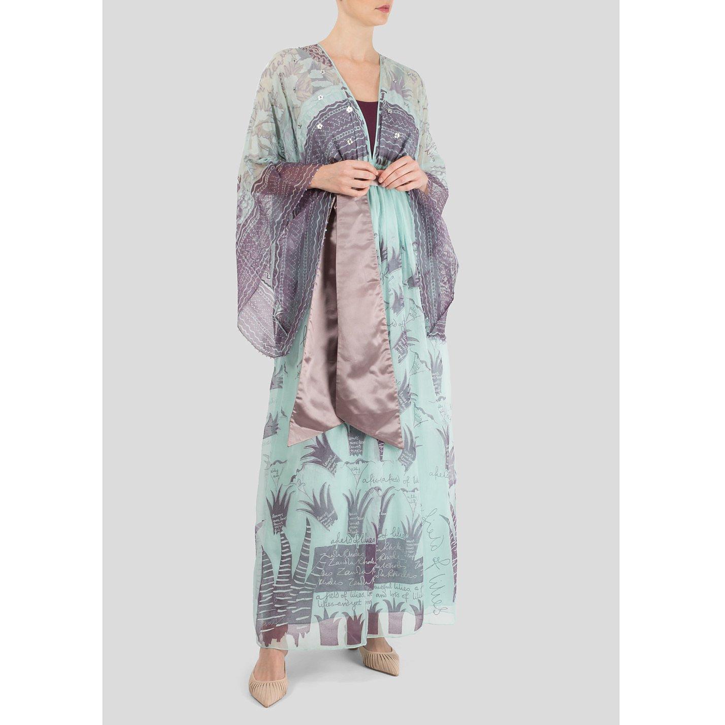 Zandra Rhodes Silk-Chiffon Peppermint Maxi Dress
