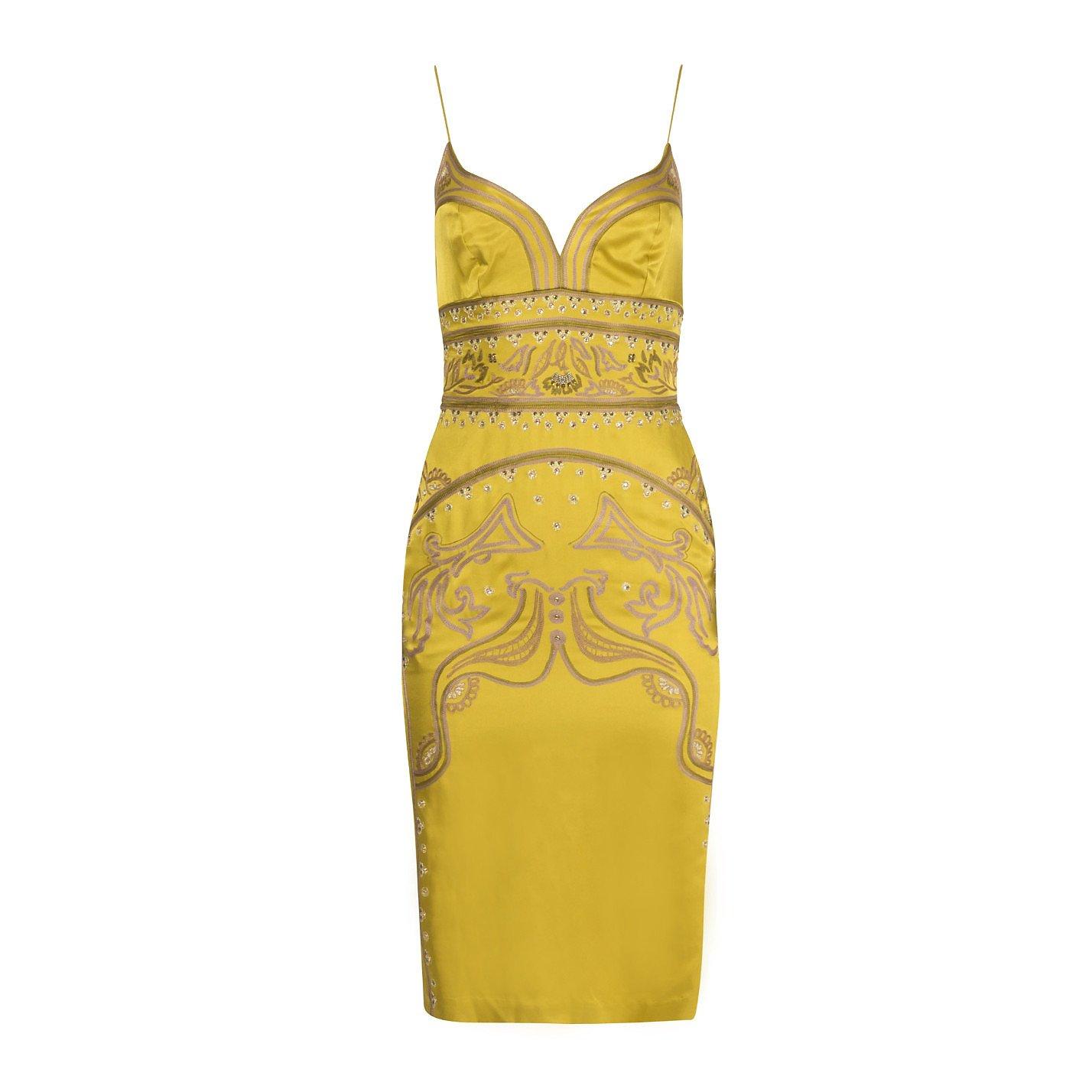 Nicole Miller Embellished Silk Slip Dress