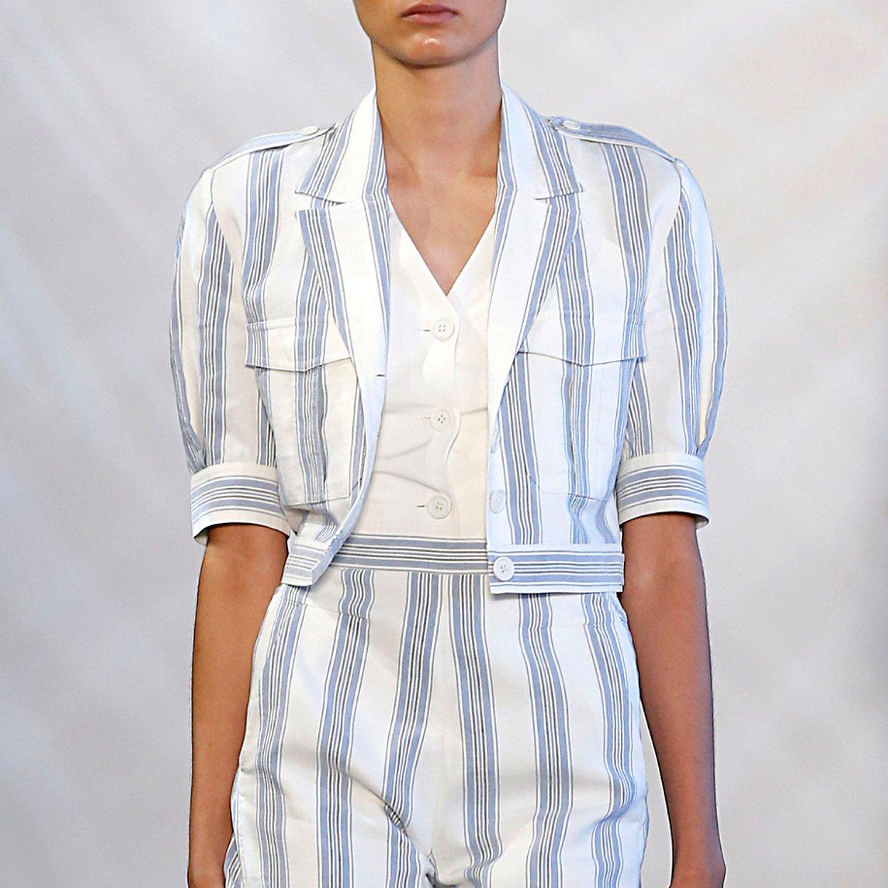 Noon By Noor Jack Silk Linen Striped Jacket