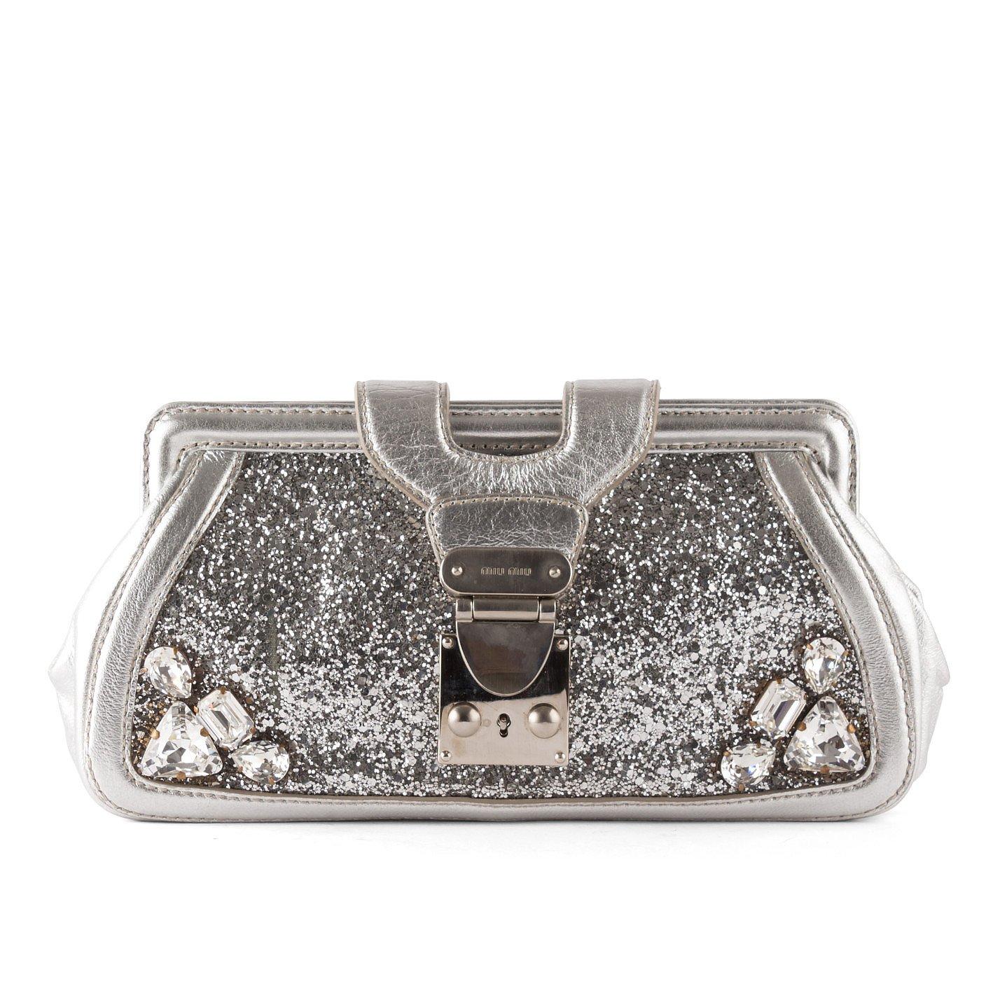 Miu Miu Crystal-Embellished Glitter Clutch