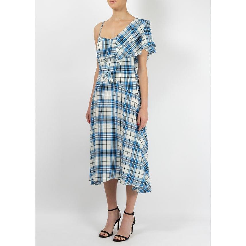 Paper London Maeva Asymmetrical Check Dress