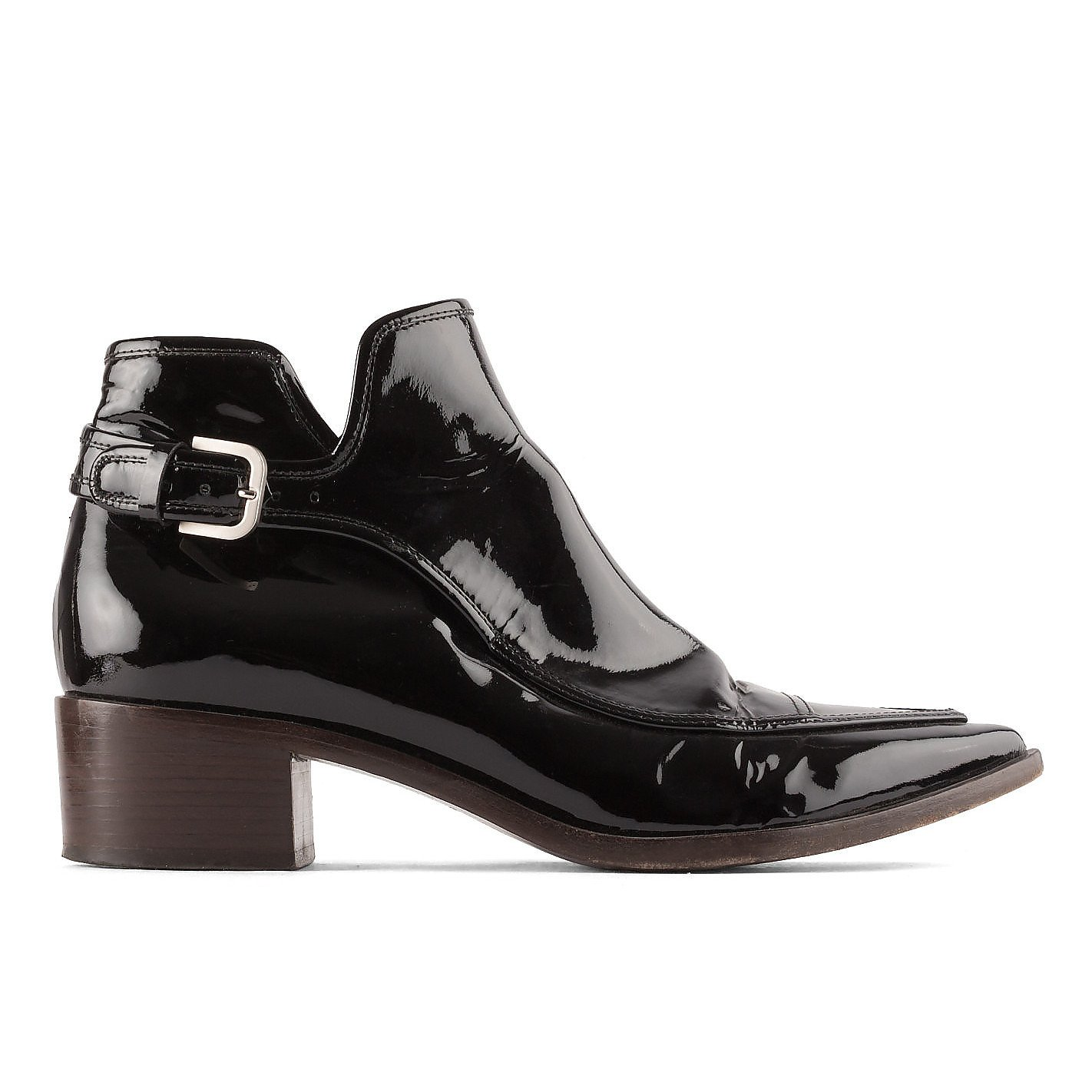 CHANEL Patent Point-Toe Ankle Boots