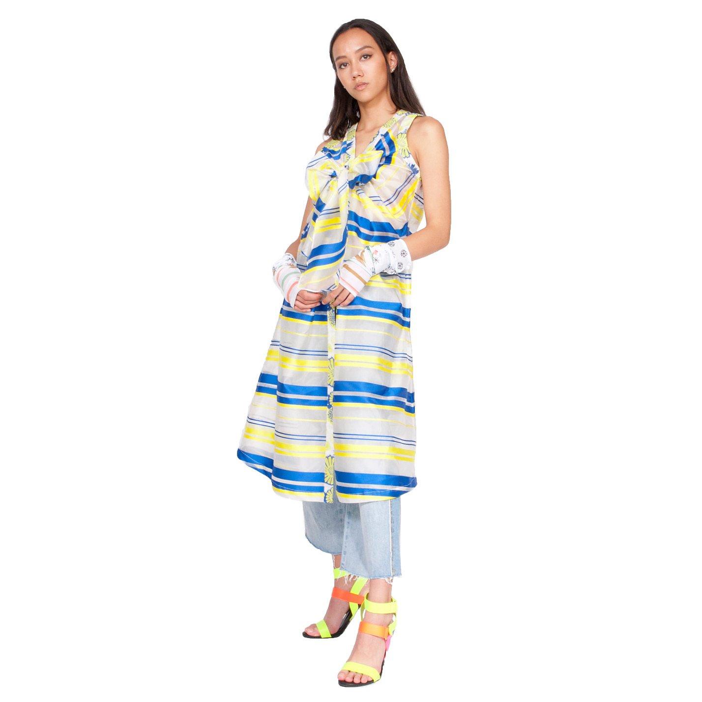 Syra J Striped Organza Dress With Bow