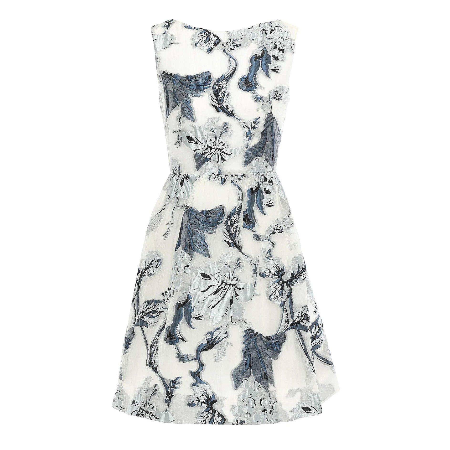 Erdem Sleeveless Metallic Fil Coupé Organza Mini Dress