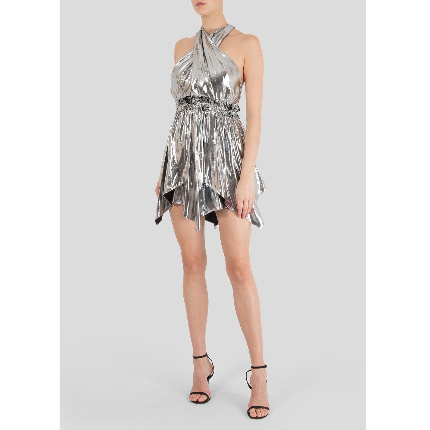 Isabel Marant Kary Metallic Silk-Blend Mini Dress