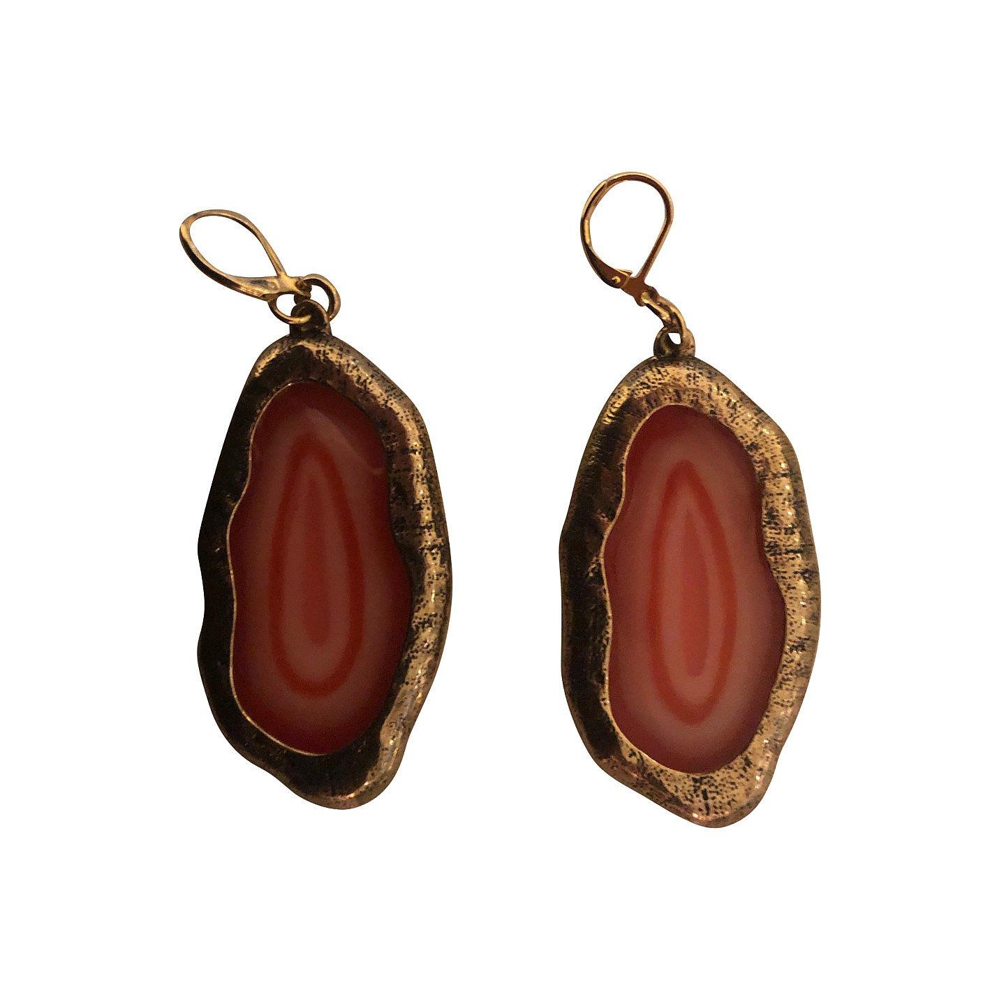 Kenneth Lane Marbled Stone Earrings