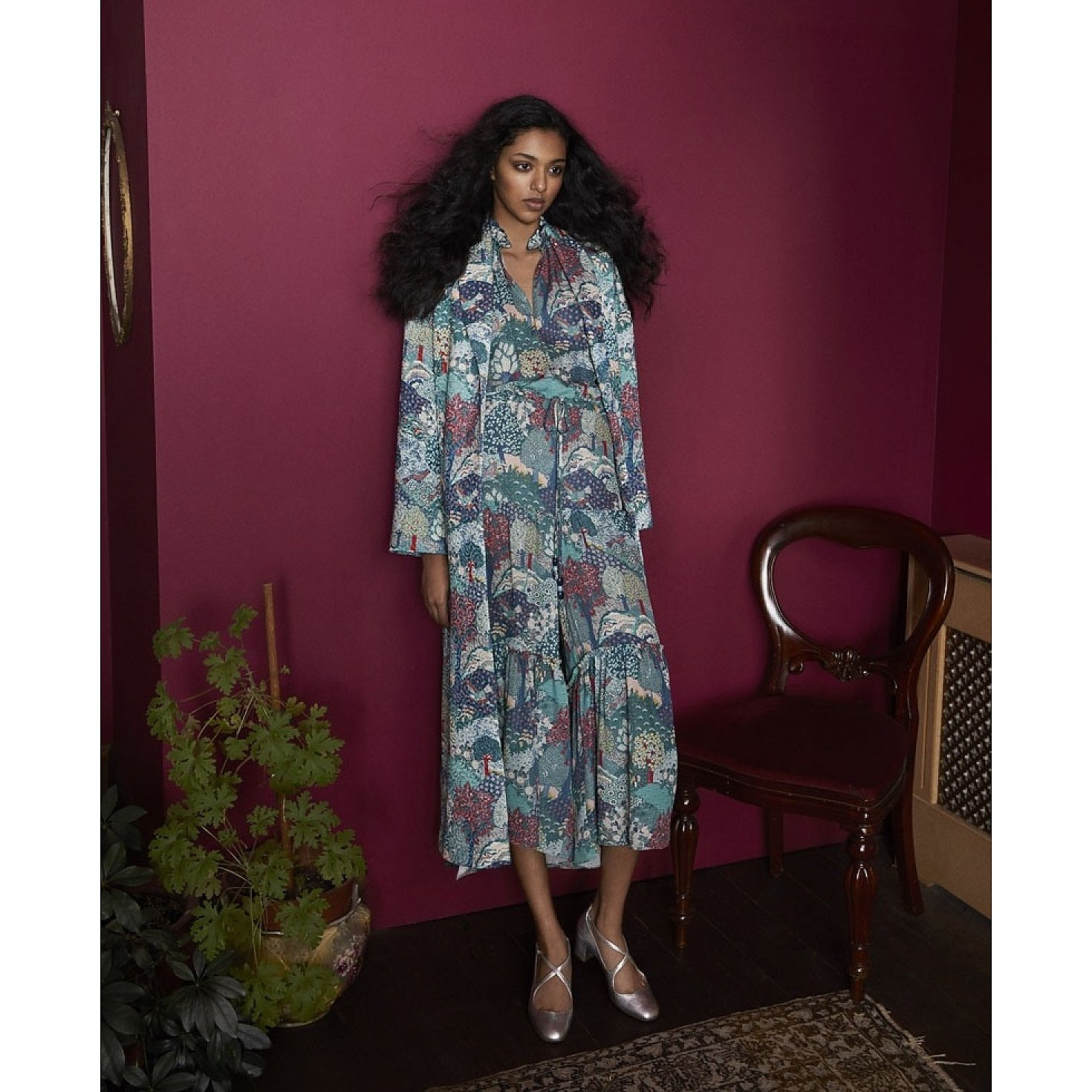 Vilshenko Evie Printed Silk Dress