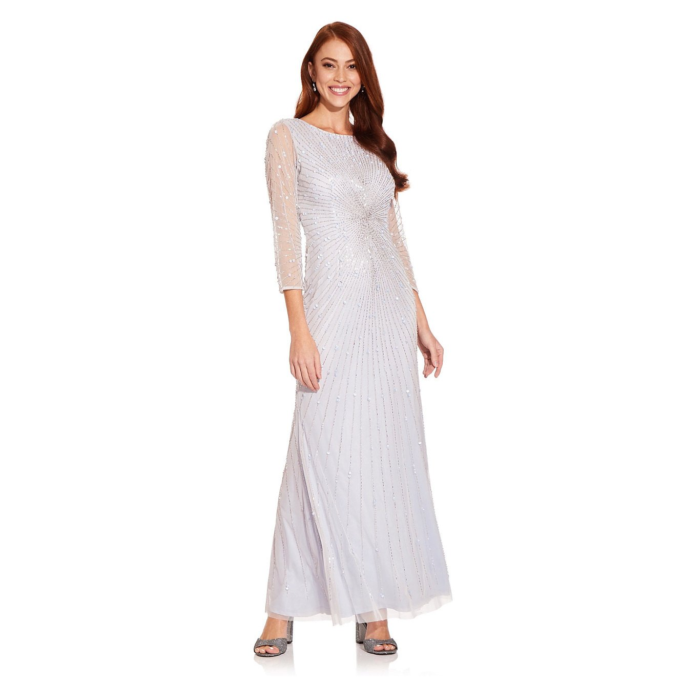 Adrianna Papell Beaded Gown With Sleeves