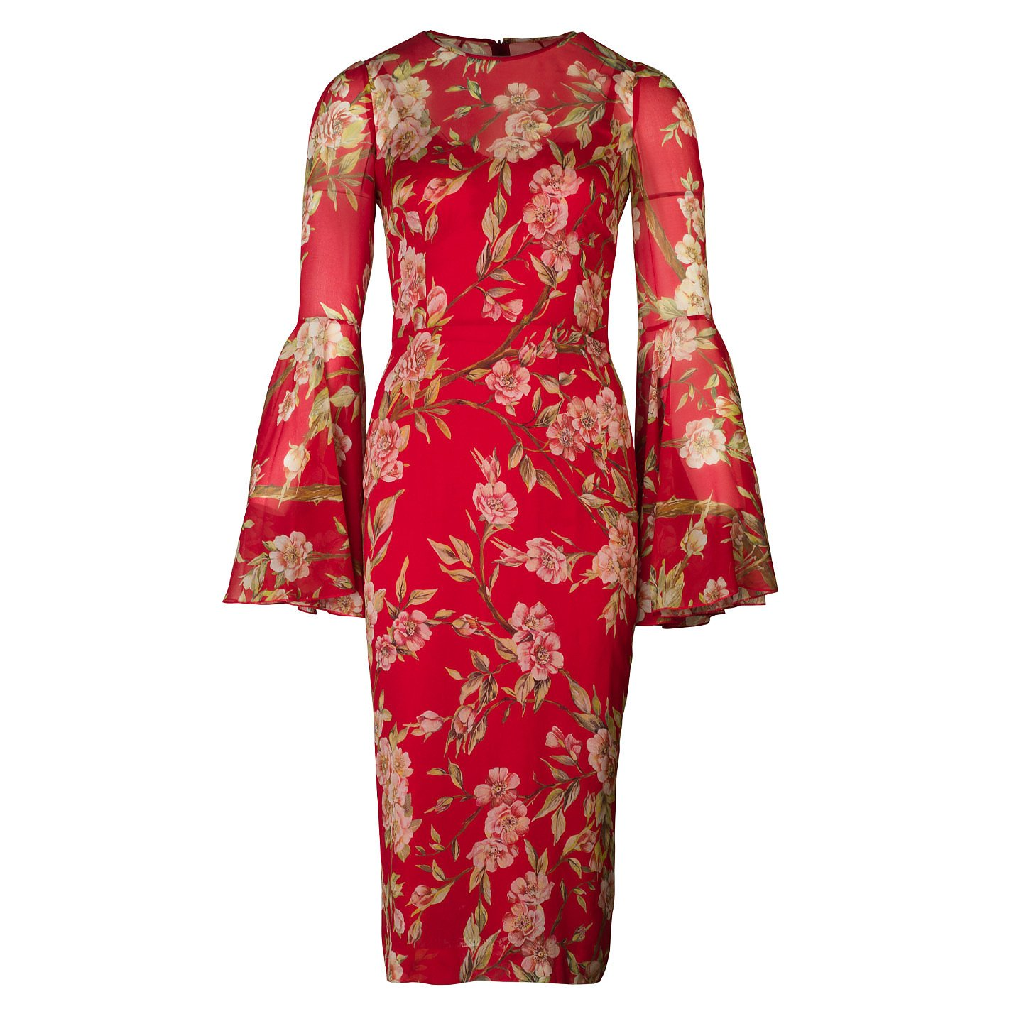 DOLCE & GABBANA Floral Print Bell-Sleeve Midi Dress