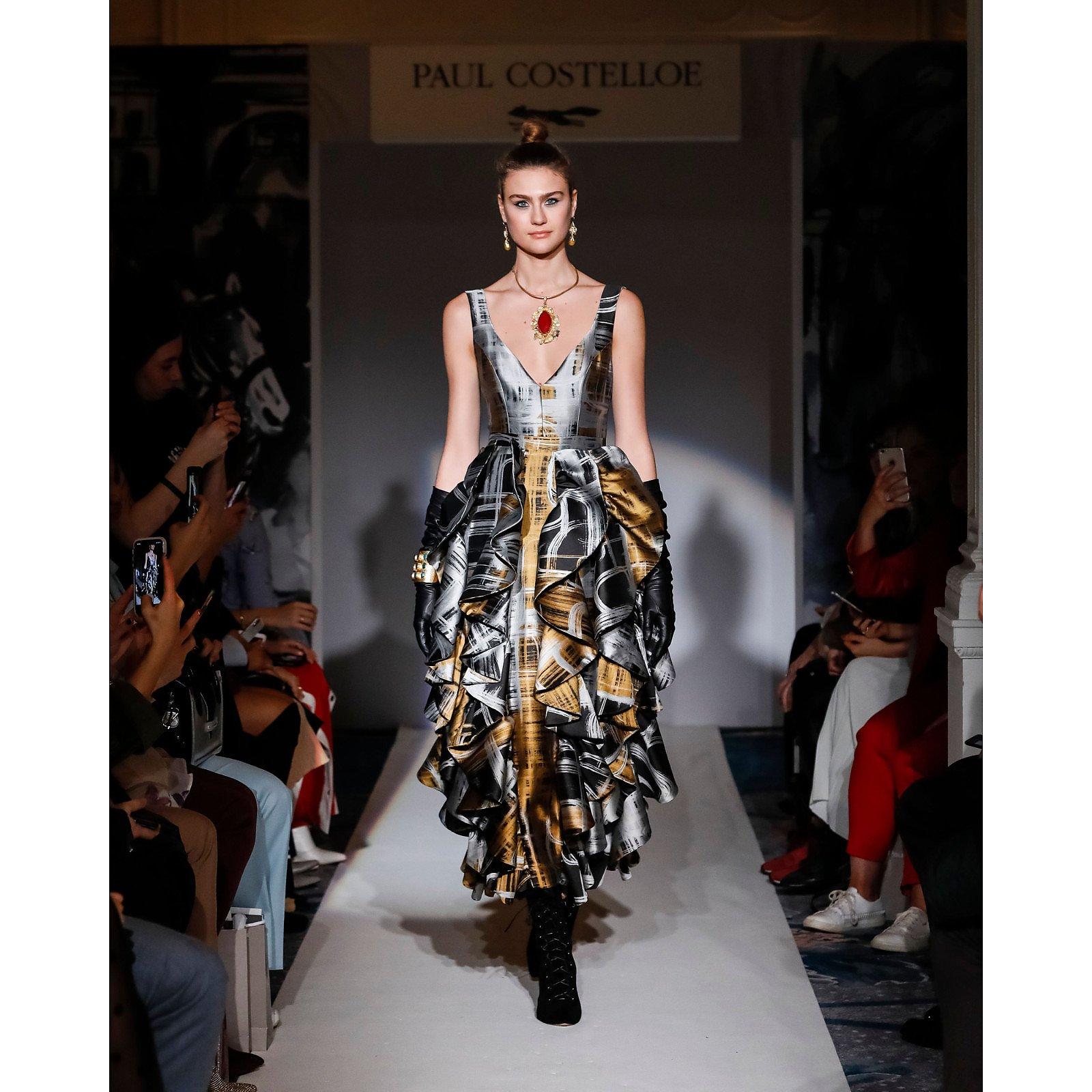 Paul Costelloe Plunge-Neck Ruffle Dress