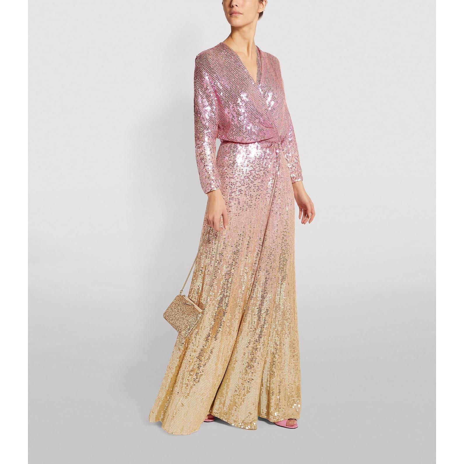 Jenny Packham Gina Ombré Sequin Wrap Gown