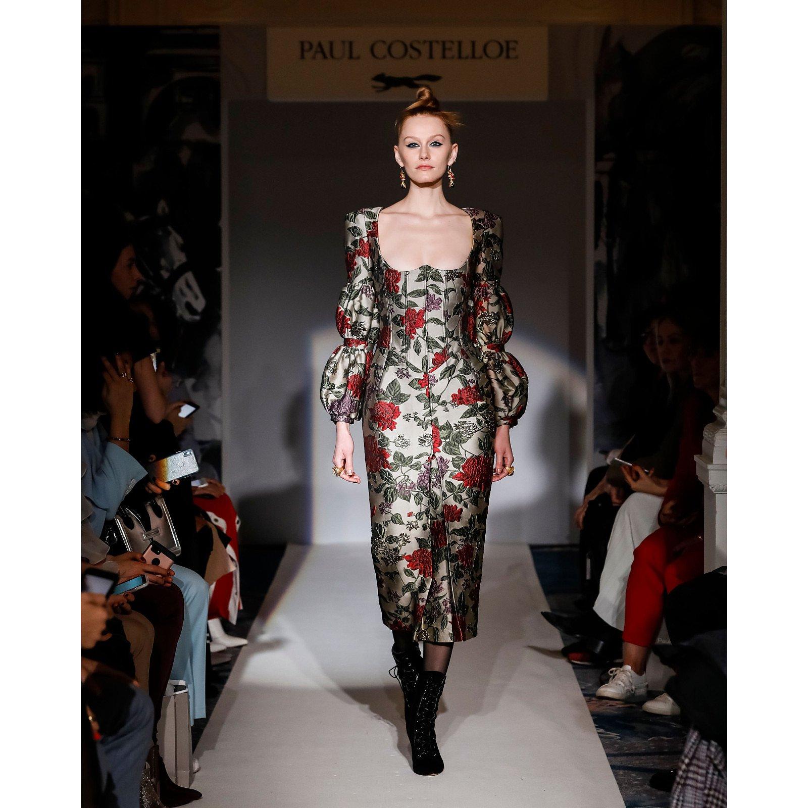 Paul Costelloe Floral Jacquard Midi Dress
