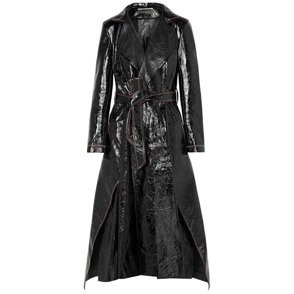 Roland Mouret Marvin Cracked Patent Leather Coat