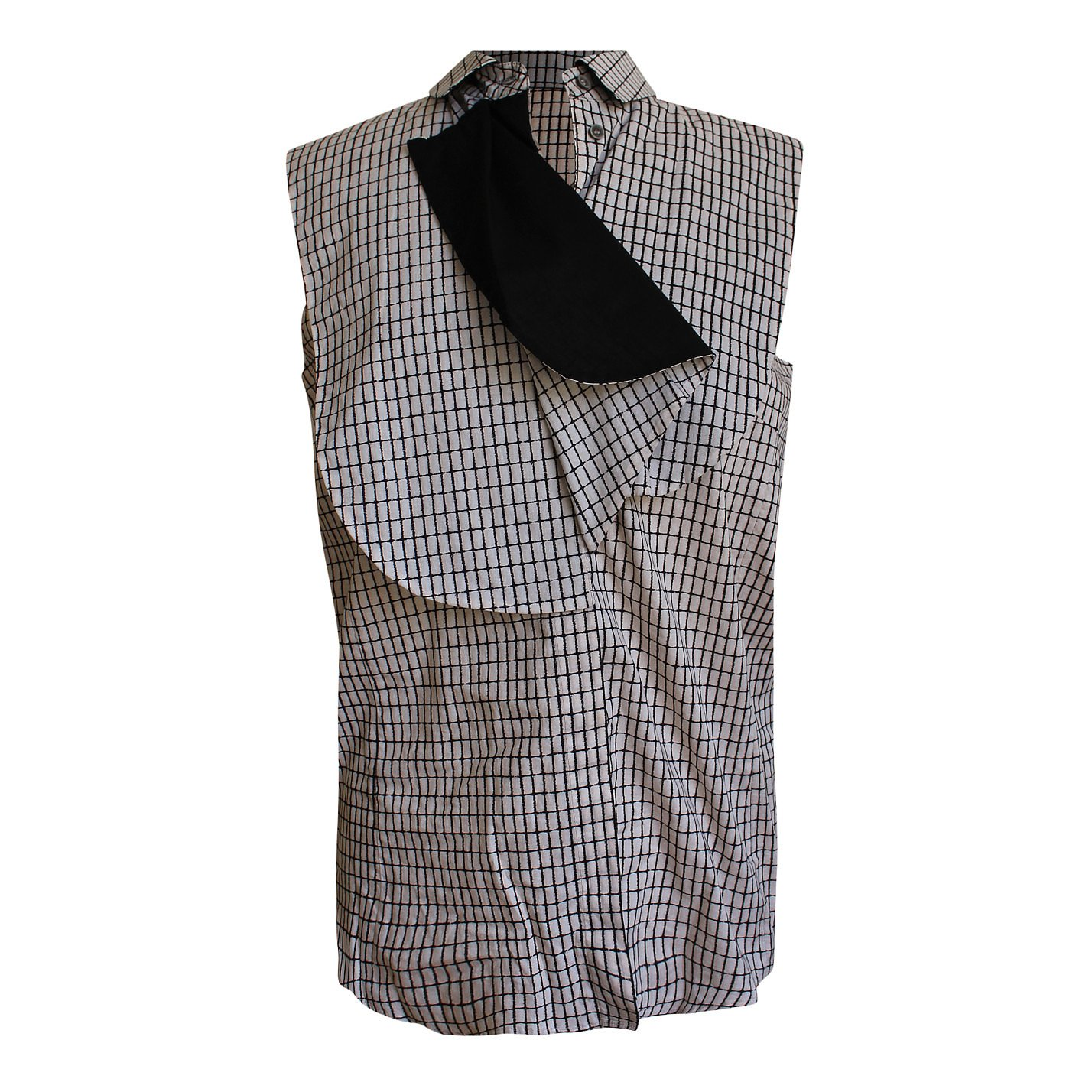 O'2ND Check Print Asymmetrical Sleeveless Shirt