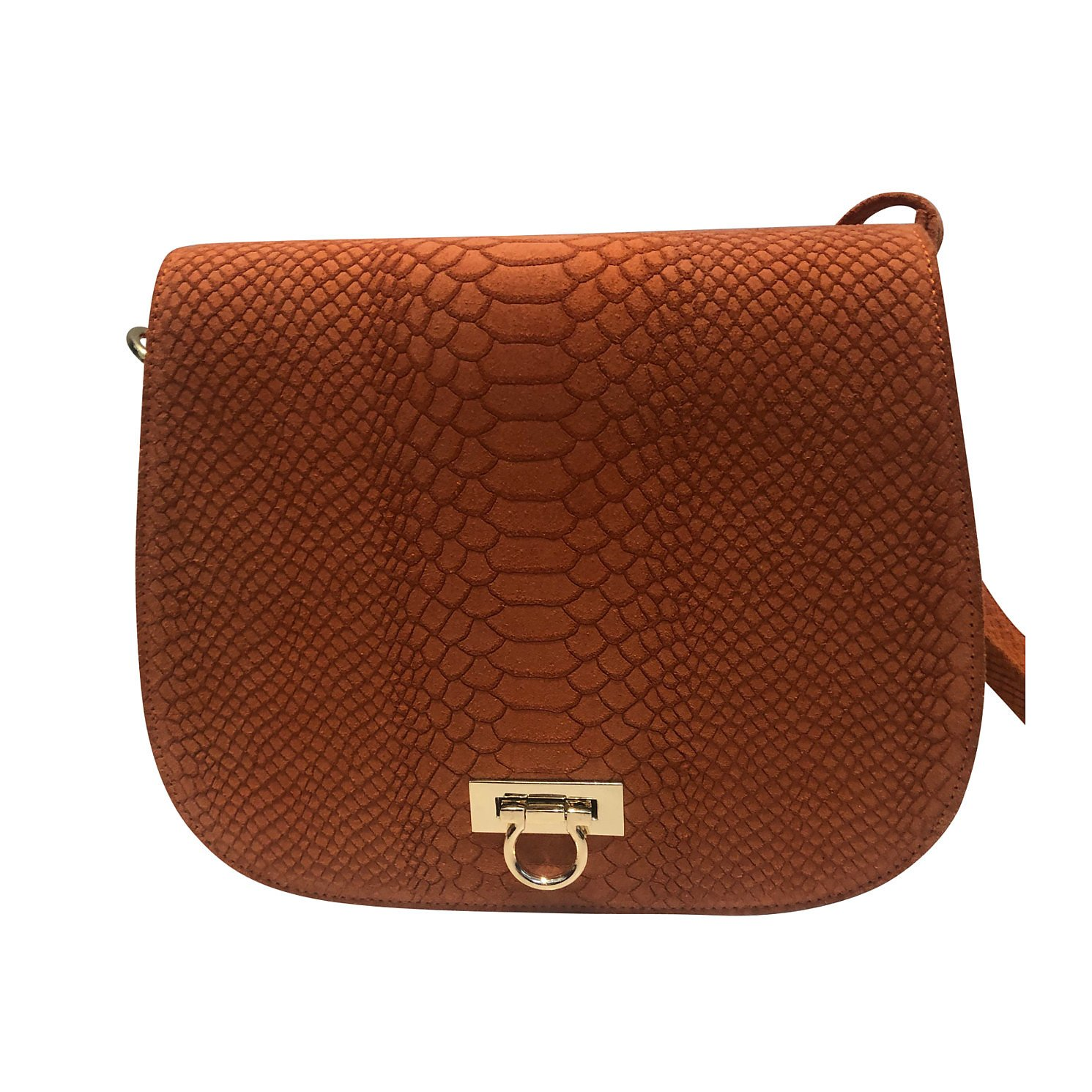 BBCO Croc-Stamped Leather Bag