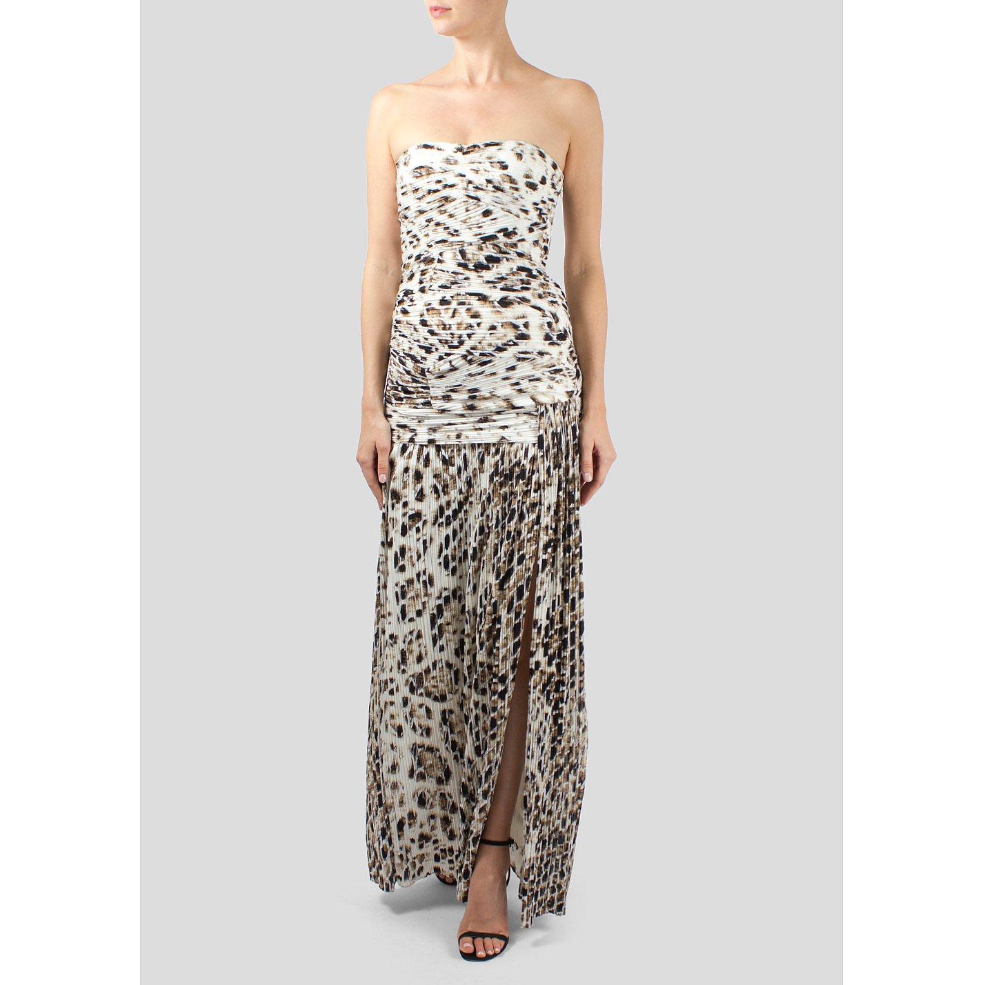 Halston Heritage Strapless Leopard Print Gown