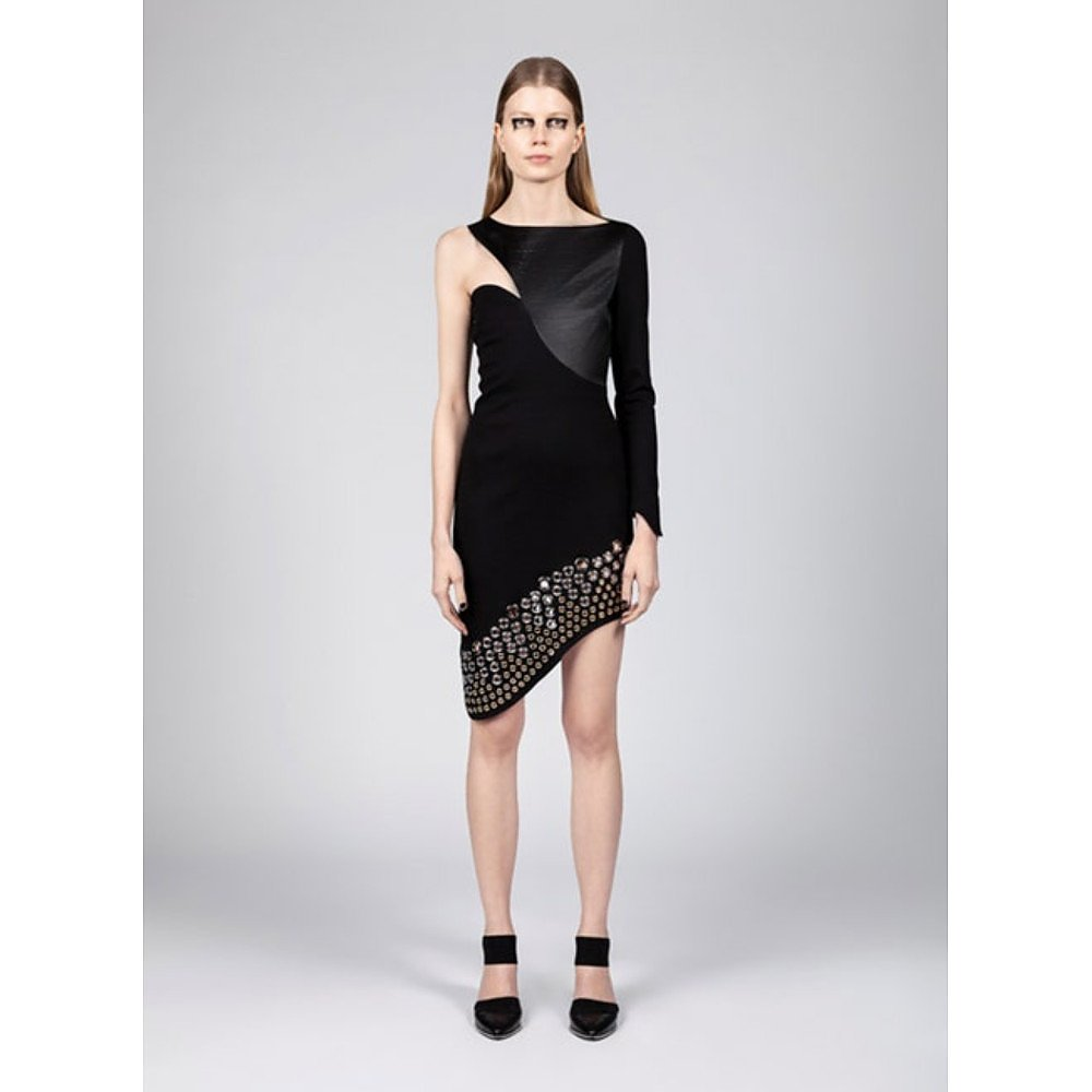 Manuel Facchini Asymmetrical Dress With Leather And Stud Details