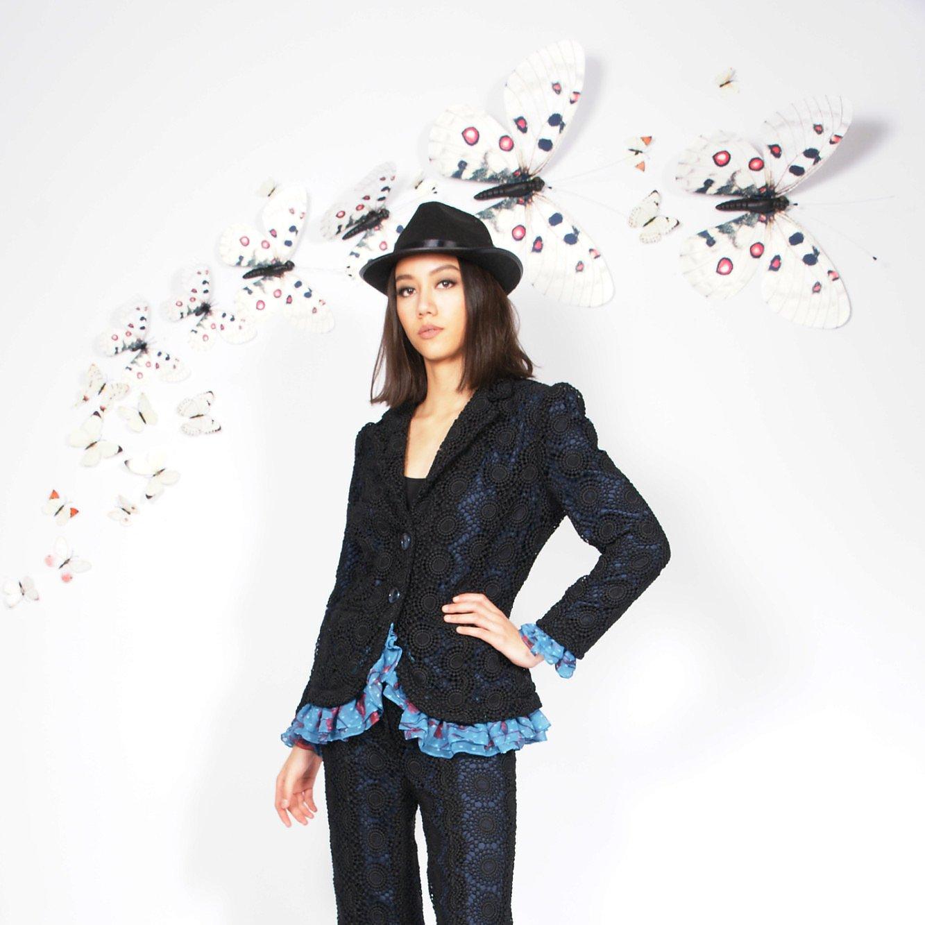 Syra J Crochet Blazer With Ruffles