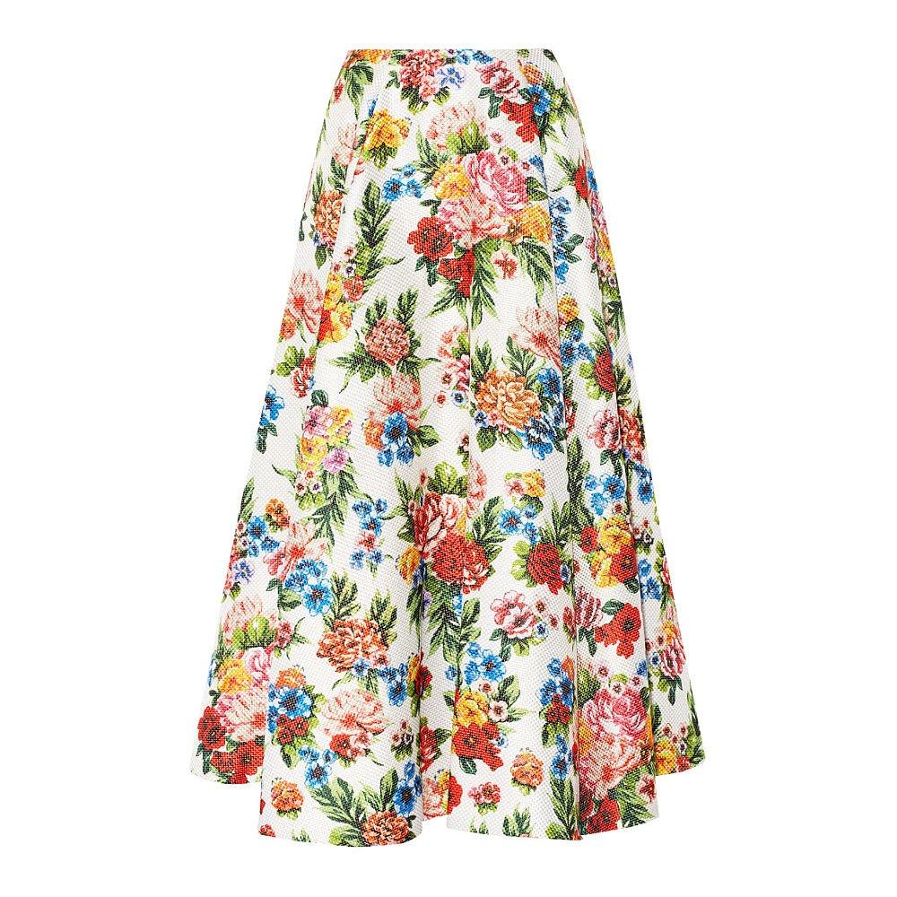 Emilia Wickstead Eleanor Floral-Print Basketweave Maxi Skirt