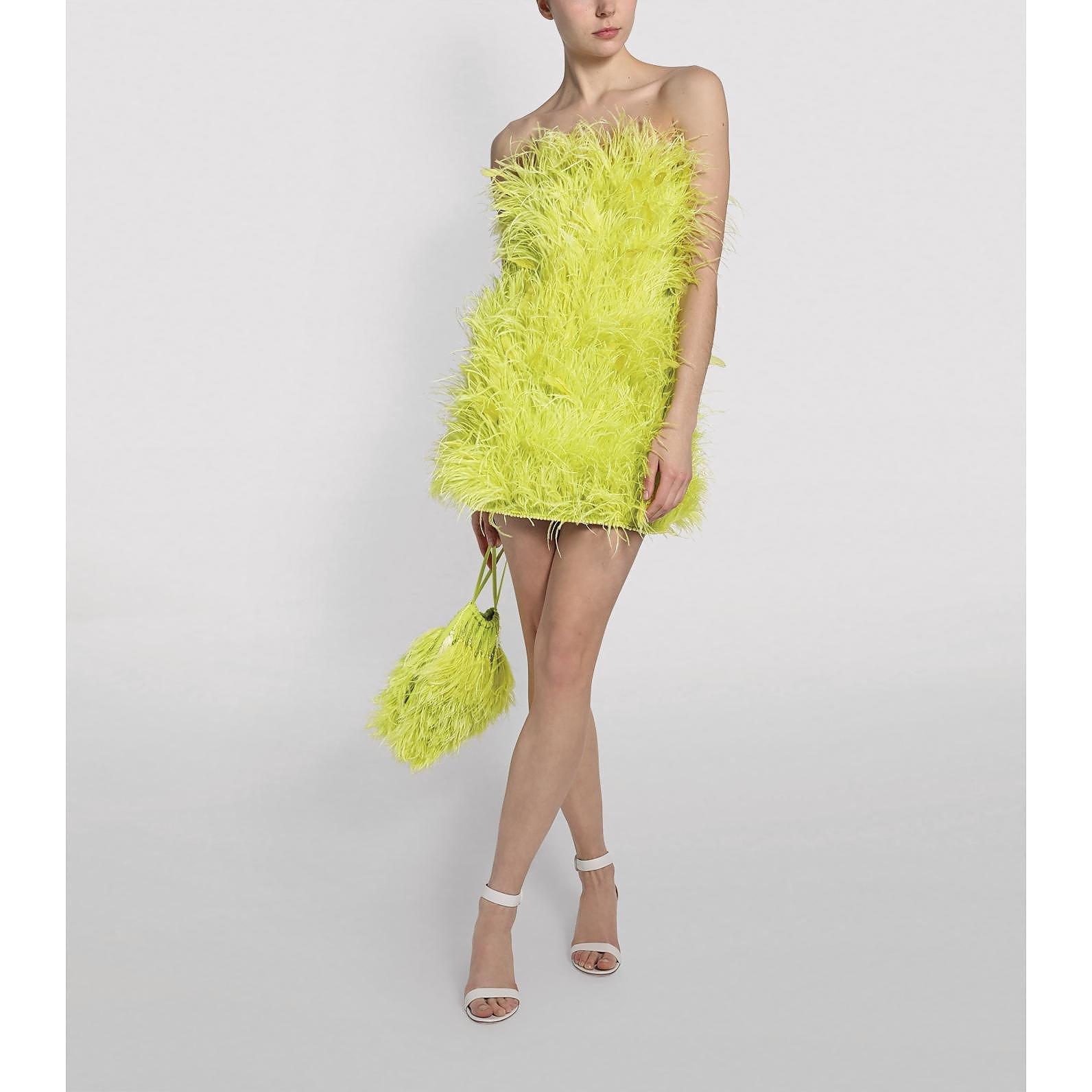 The Attico Ostrich Feather Mini Dress