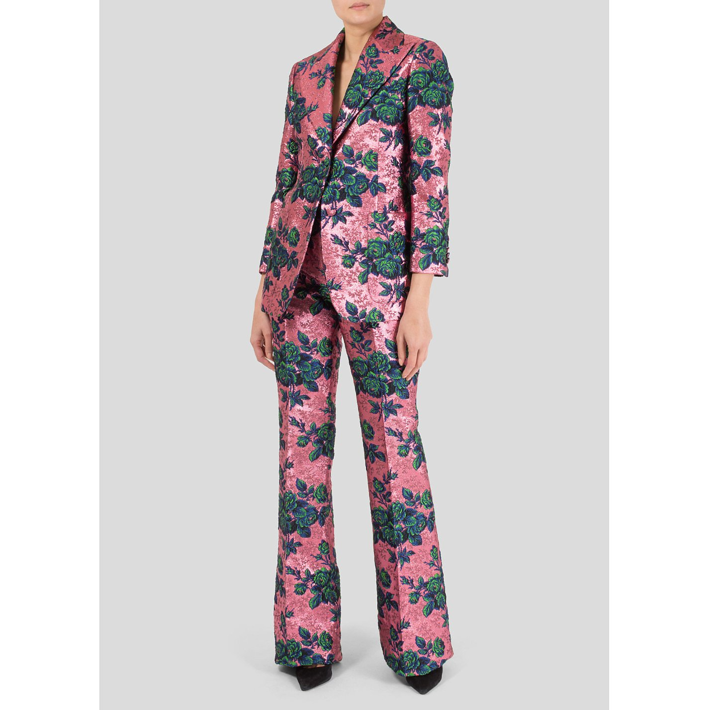 Gucci Metallic Floral Embroidered Trouser Suit