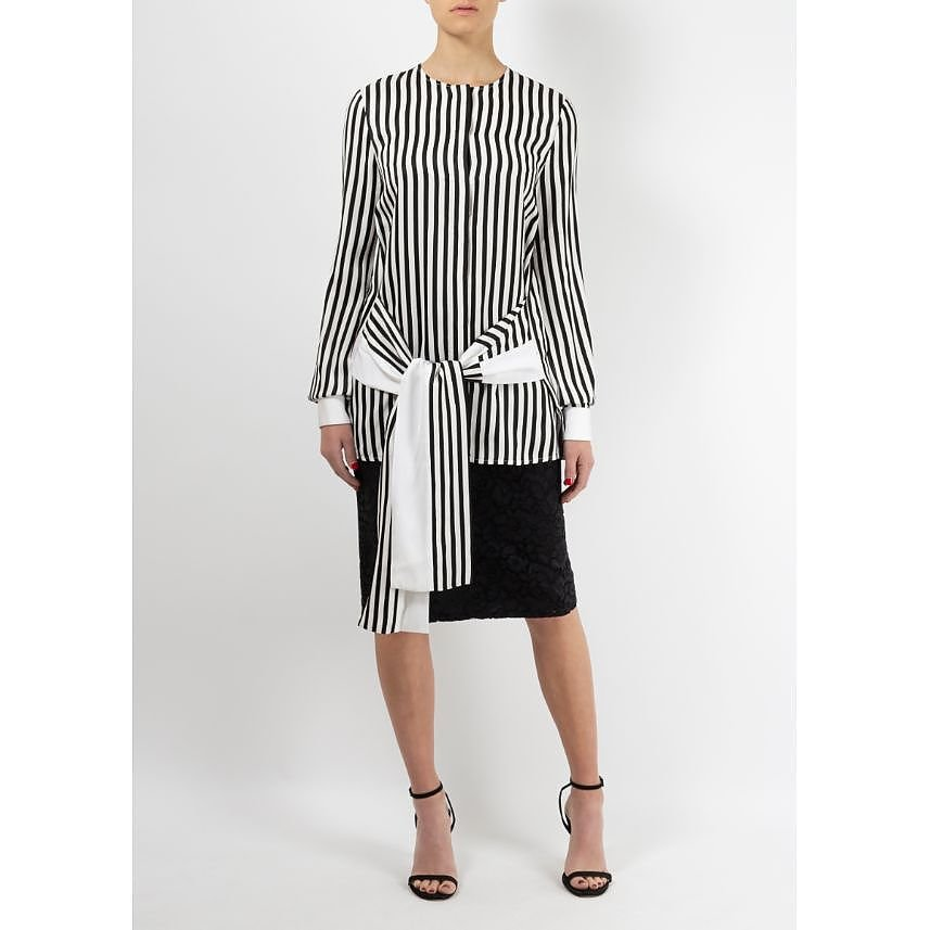 Victoria Beckham Striped Blouse With Tie