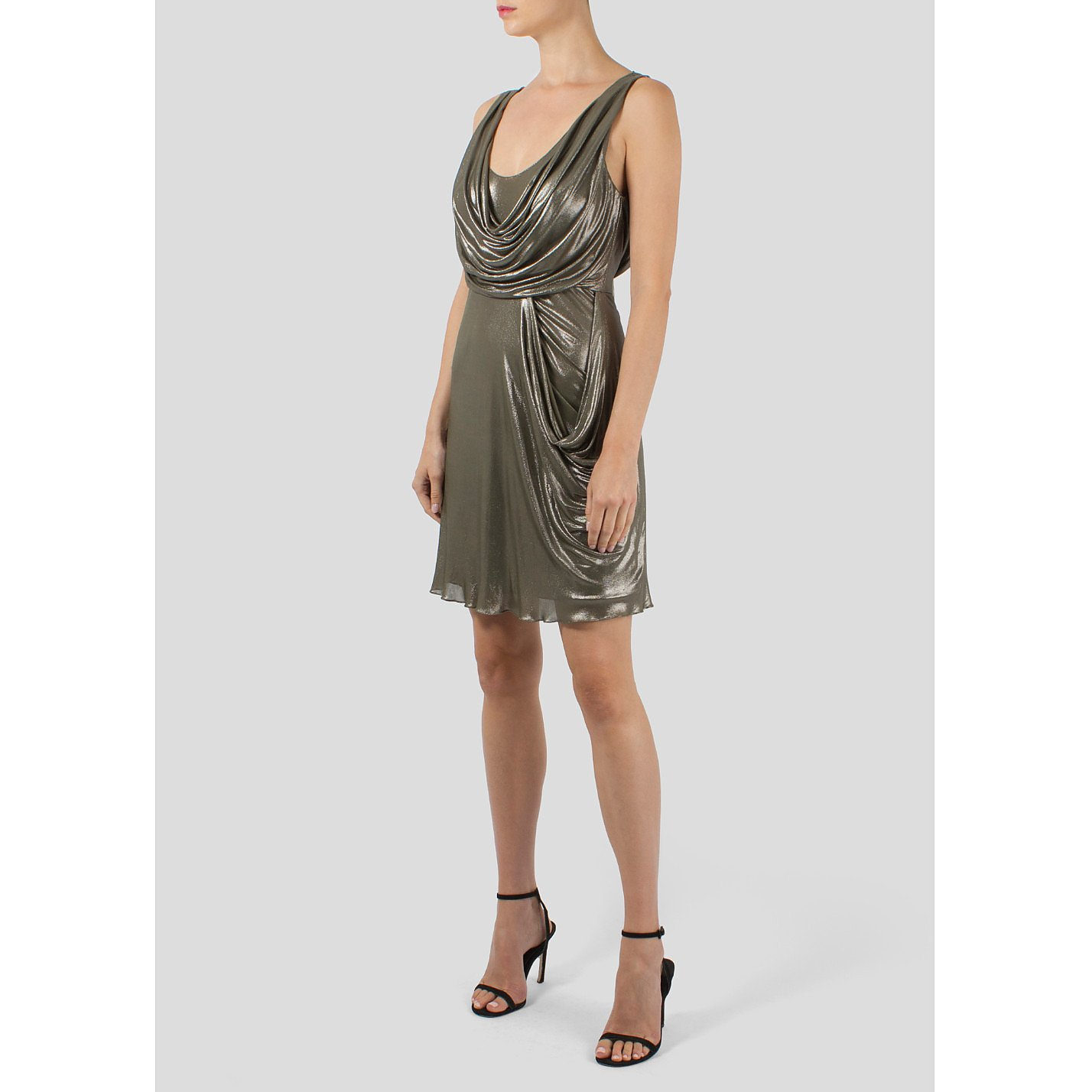 Jenny Packham Metallic draped  Mini Dress